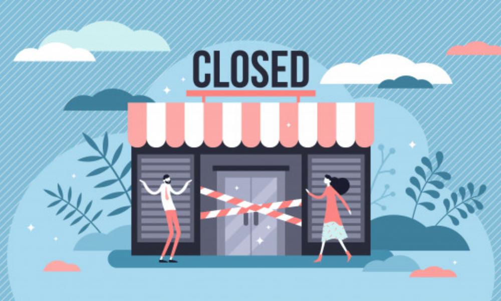 ilustración de una pequeña tienda cerrada